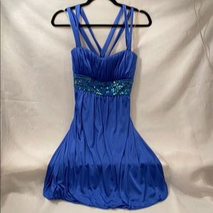 Bubble hem periwinkle cocktail dress with beading